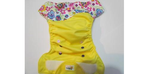 Couche Agrumette- tout-en-un-fleur et jaune- velcro