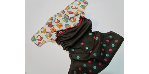 Couche LiliBelle- Hibou-Wrap en performance Knit