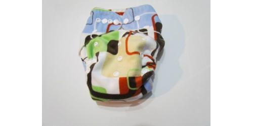 Couche Alva- Extérieur en minky doux- Carreaux multicolor