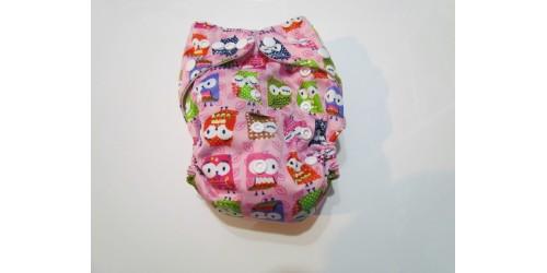 Couche  à poche- Hibou fond rose
