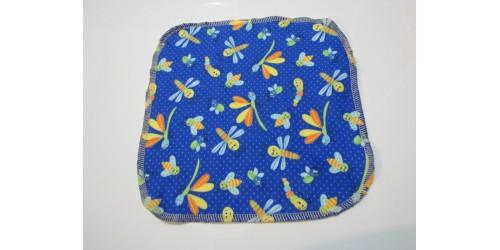 Lingette Bébé Nana- Moyen 9x9- Libellule fond bleu foncé