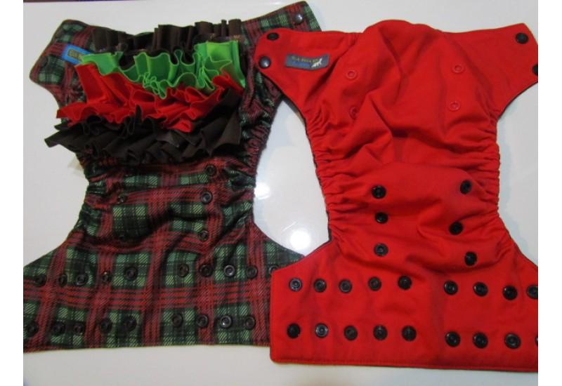 Duo de couche EBB à froufrou interchangeable- Carreaux et rouge