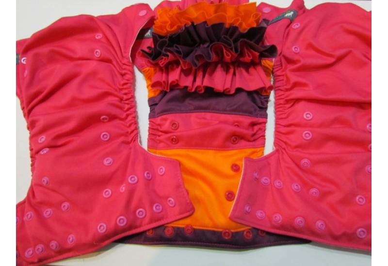 Trio de couche EBB à froufrou interchangeable- Rose et orange