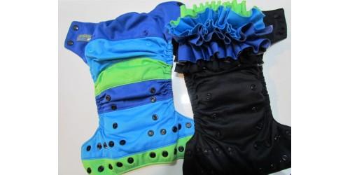 Duo de couche EBB à froufrou interchangeable- Bleu, noir et vert
