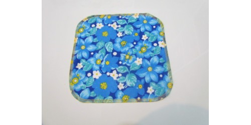 Lingette Bébé Nana- Moyen 9x9- Fleur bleu jaune