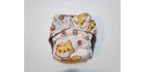 Couche nouveau-né Bamboodrive- Intérieur charcoal- Bébé renard