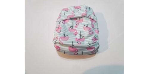 Elf diaper- Couche à poche- Flamant-velcro- neuf seulement lavé
