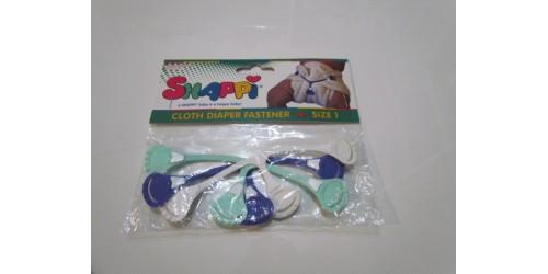 3 Attaches SNAPPI BABY- Taille 1 régulière- Blanc, bleu. vert