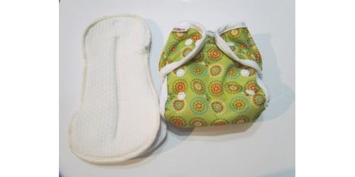 Couvre-couche bummis nouveau-né- cercle vert- Avec 2 duo d'inserts