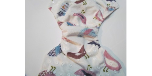 Kawaii baby- moineau- extérieur en minky- snap