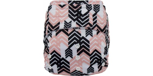 Elf diaper- Couche à poche-Ensemble de luxe- Black and Pink-Velcro